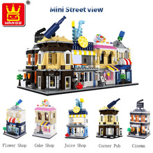 Wange 5 type of Mini Street View  Building Block brick DIY Educational Toys For childrens Gift
