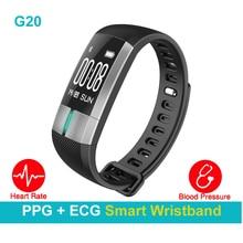 Новый ppg + ЭКГ Heart Rate Monitores Pulseiras Inteligentes G20 Presión arterial умный Браслет Шагомер сна Monitores Фитнес спортивные часы