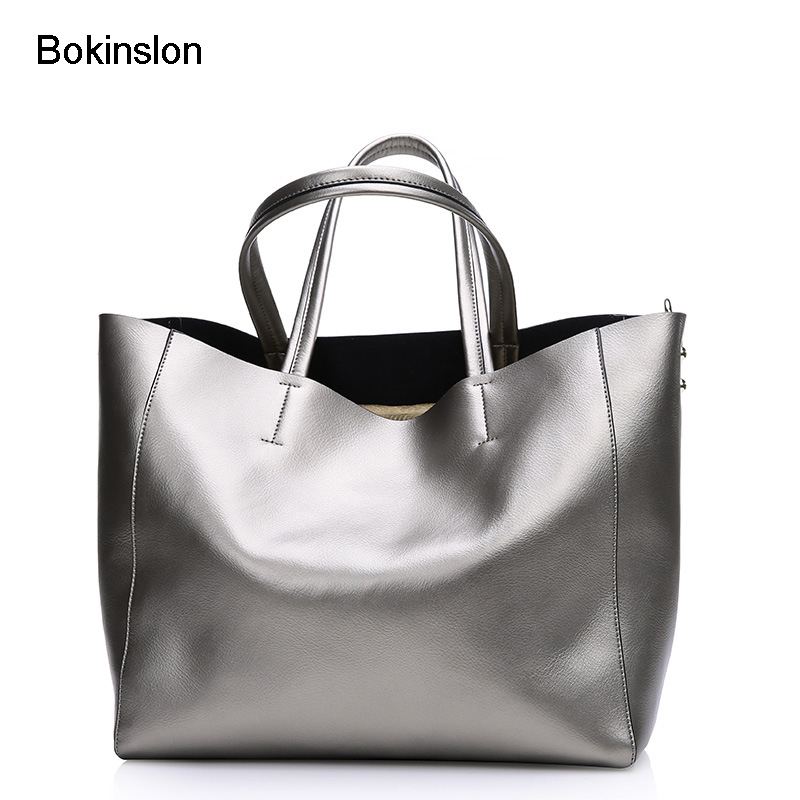 Bokinslon Women Handbags Split Leather Large Capacity Womens Messenger Bags Fashion Solid Color Brand Handbag Women's 2016 new fashion women handbag colourful striped canvas and leather bags women messenger bags large capacity bat wing handbags