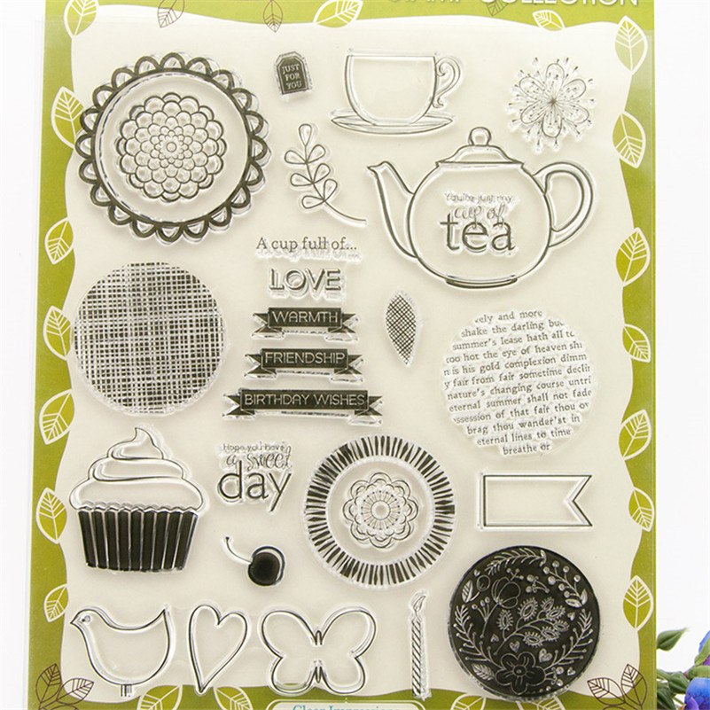 About tea design Clear Silicone Rubber Stamp for DIY scrapbooking photo album Decorative craft for Christmas gift RZ-111 about loving heart design transparent clear silicone stamp for diy scrapbooking photo album clear stamp christmas gift ll 278