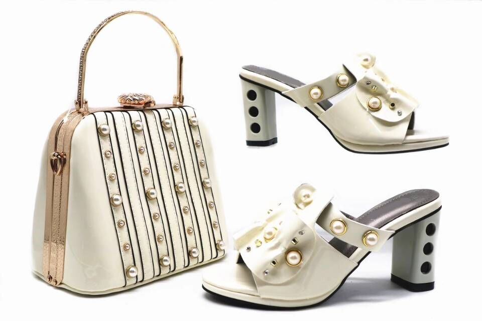 1131143a7bcd6 Hot sale white women pumps with pearl decoration african shoes match big  handbag set for dress