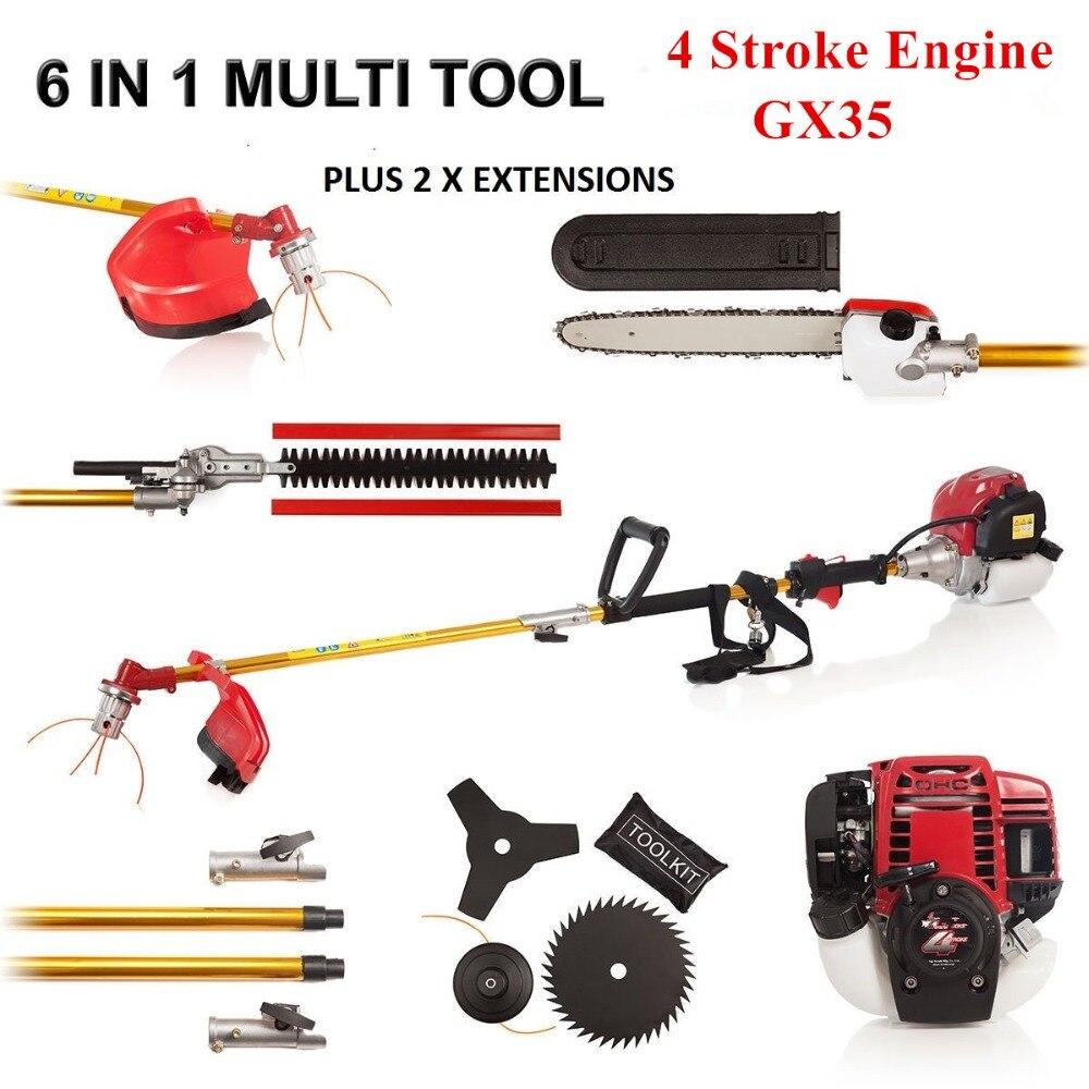 Nova alta qualidade cortador de escova cortador grama 6 in1 com gx35 4 tempos a gasolina motor multi escova strimmer hedge trimmer cortador árvore