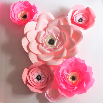 2018 Unique Pink Giant Cardstock & Crepe Paper Flowers 6PCS Wedding & Event Decor Baby Nursery Windows Display Mix Size 10-50CM