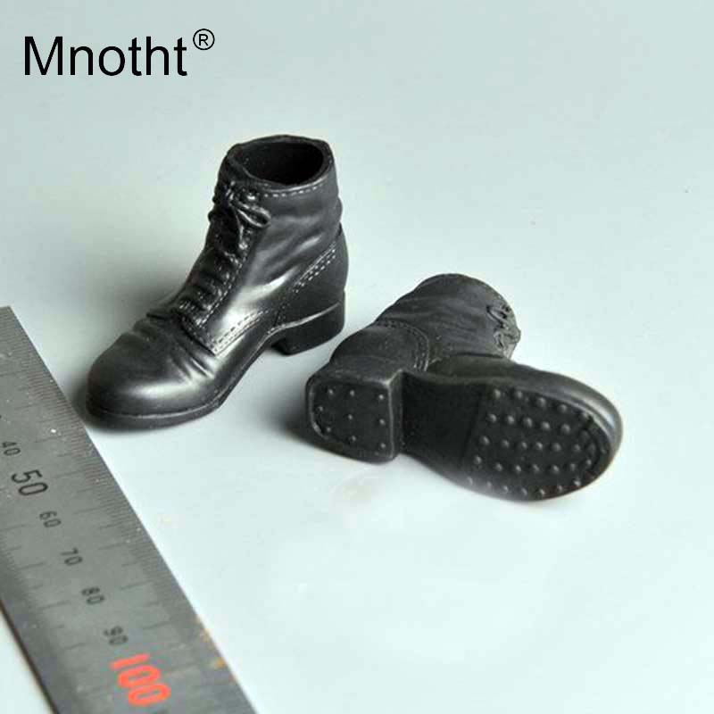 """1:6th Black WWII German Paratrooper Hollow Leather Boots For 12/"""" Male Body Doll"""