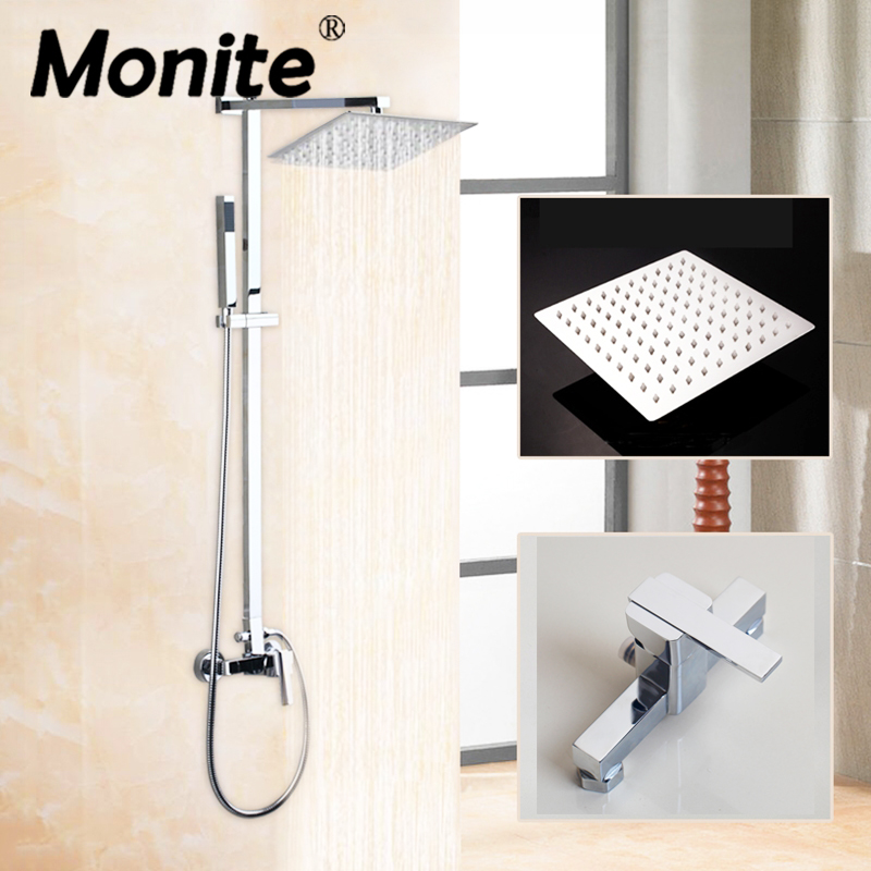Chrome Polished Wall Mounted 8 Big Rainfall Shower Set Mixer Faucets Bathroom Adjust Height Handheld Shower Faucet free shipping high quality bathroom toilet paper holder wall mounted polished chrome