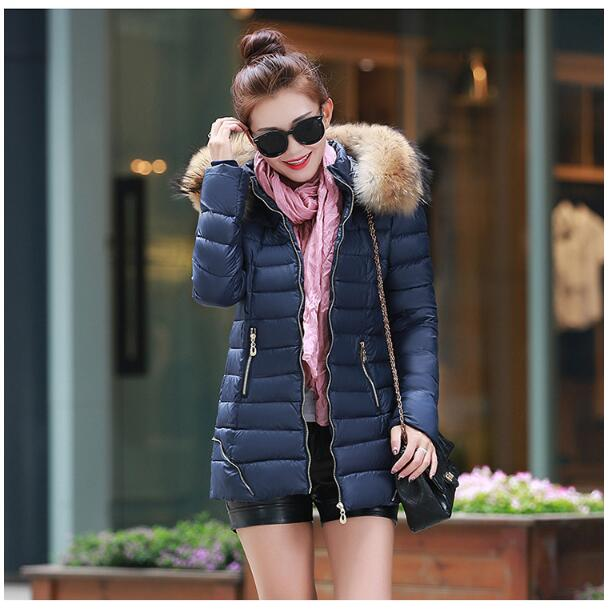 2017 winter new Korean version of the cotton cashmere women in the long section of thickening Slim collar large size coat sky blue cloud removable hat in the long section of cotton clothing 2017 winter new woman