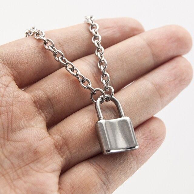 Женские Ювелирные изделия, серебряный цвет, висячий замок, ожерелье, новинка, нержавеющая сталь, Роло, цепочка, ожерелье, дружба, подарки