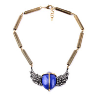 Fashion Design Vintage Collars Accessory Antique Gold Guardian Angel Wings Sapphire Solitaire Necklace