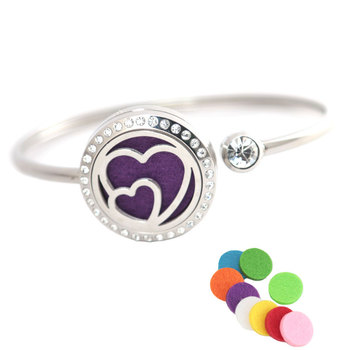 Essential oil diffuser locket bracelet Real Love 25mm Magnet Crystal Stainless steel Aromatherapy locket Bracelet Bangle