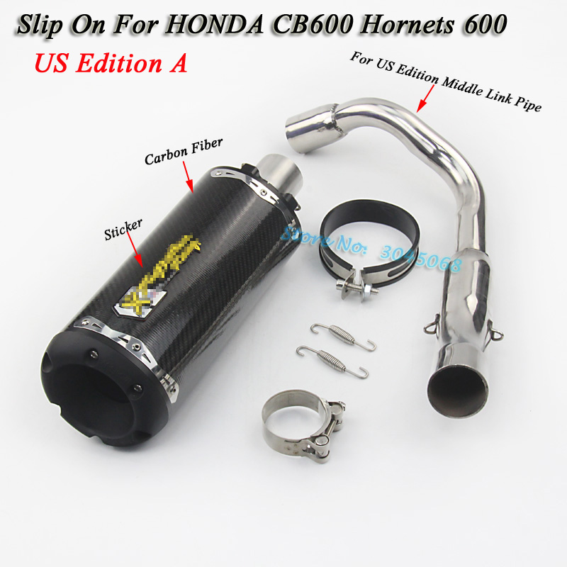 Slip On For Honda CB600 Hornets 600 Motorcycle Modified Exhaust Escape Moto Carbon Fiber Muffler With Middle Link Pipe Sticker