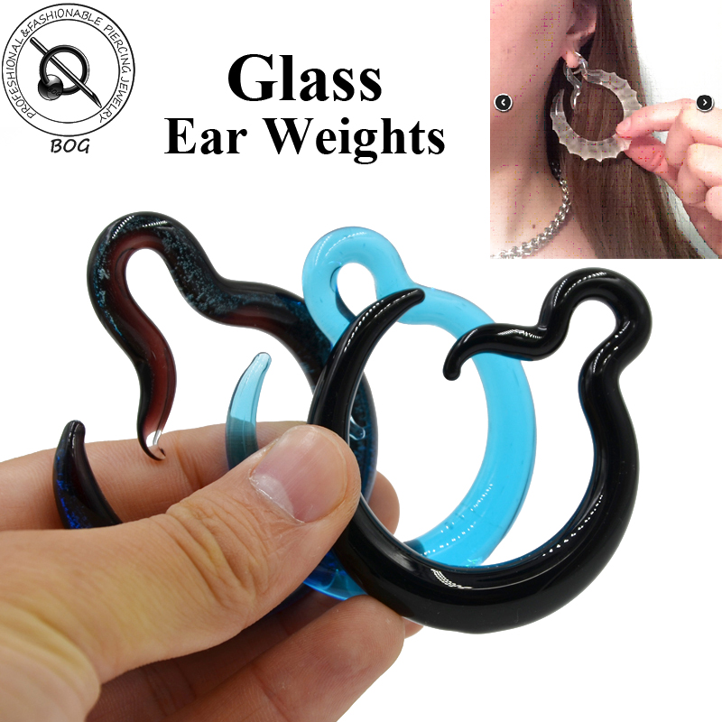 New Glass Spiral Ear Taper Stretcher Gauge Expander Tunnel Plug Stretching Piercing Body Jewelry Ear Hanger Weight