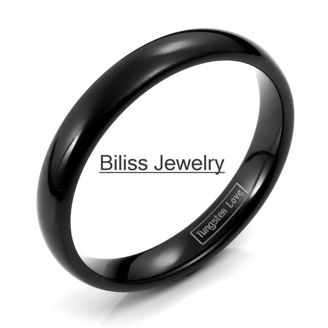 Fashion 4mm Black High Polished Plain Dome Tungsten Carbide Rings For Women Men Party Engagement Anniversary