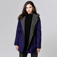 Woolen Coat Blends Winter Female Thicker Warm 2017 Feminine Coat L 5XL Plus Size Casual Long Outwear High Quality