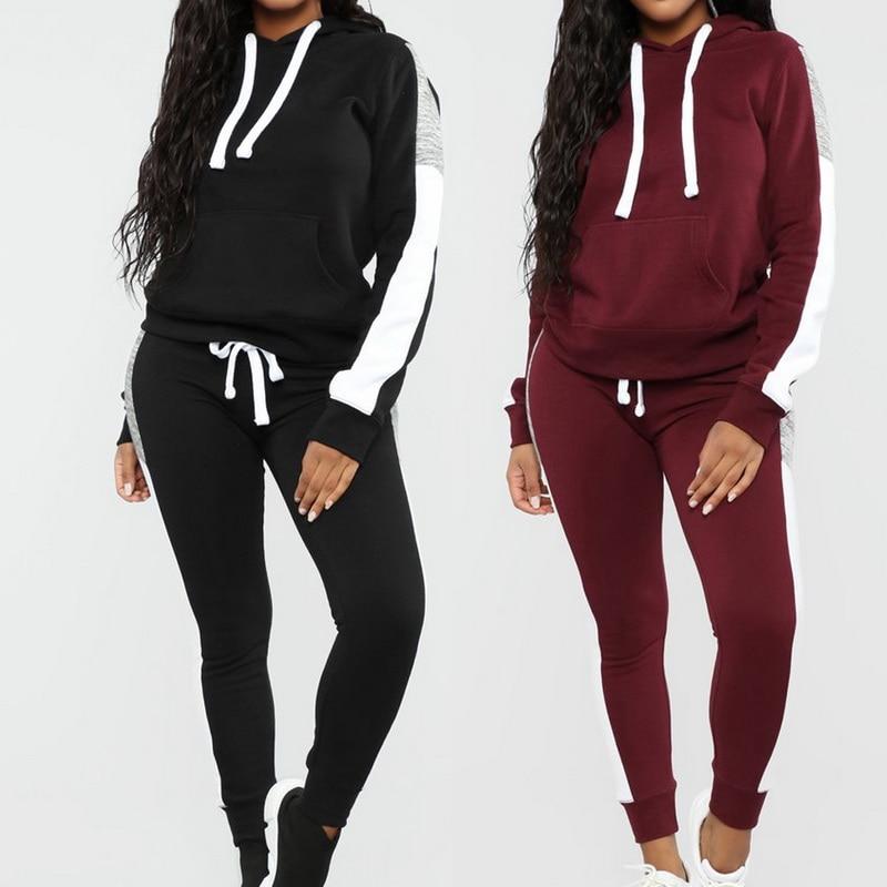 NIBESSER Long Sleeve Tracksuit Women Stripe Running Set Winter Fall Jogging Sweat Pants Sportswear Female Sport Suits Hoodies