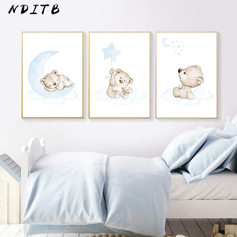 Moon Star Bear Child Wall Poster Canvas Art Print Simple Cartoon Painting Nordic Kids Decoration Picture Baby Boy Bedroom Decor