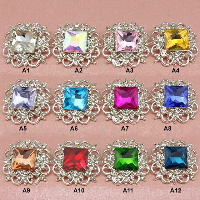 33mm Large GLASS Christmas Metal Rhinestone Buttons Square Rhinestones  Wedding Bouquets Button 30pcs RMM121 88410b763a9f