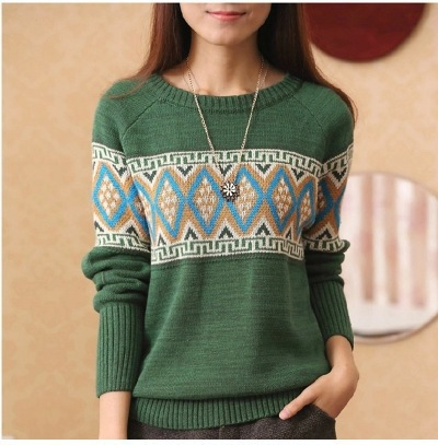 Hot Sale Sleeve, Bottom Knitted Sweater, Korean Version, Jacquard Rhombus, Thickened Round Collar, Easy Autumn And Winter.