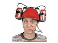Beer Soda Cool Unique Party Bar Game Hat Straw Drinking Cap Guzzler Helmet Free Shipping