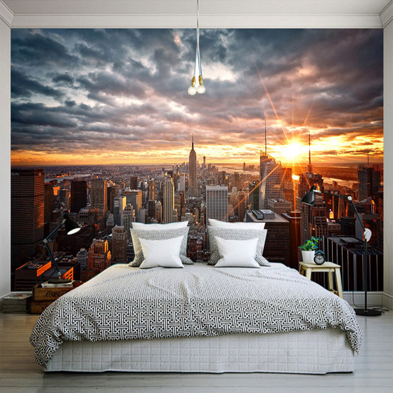 Photo wallpaper beautiful new york city sunset landscape for 3d dining room wall art