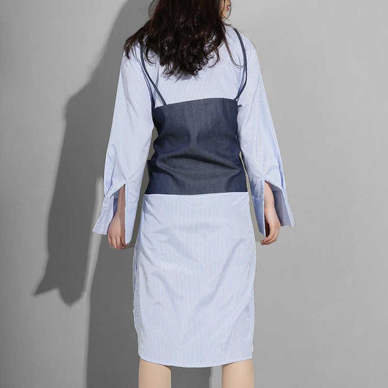 [EAM] 2019 Новое весенне-летнее джинсовое платье-рубашка в синюю полоску с отворотами и длинным рукавом, Женская мода Y8370