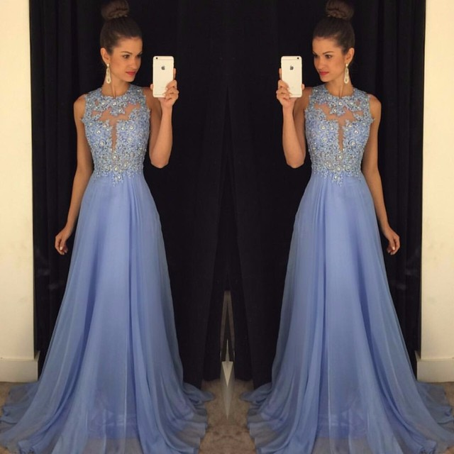 Linyixun Real Photo Sexy O Neck A Line Chiffon Lace Appliques Beaded  Light Blue Long Prom Dresses 2019 Court Train Prom Gowns 2