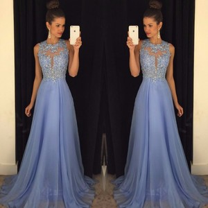Image 2 - Linyixun Real Photo Sexy O Neck A Line Chiffon Lace Appliques Beaded  Light Blue Long Prom Dresses 2019 Court Train Prom Gowns