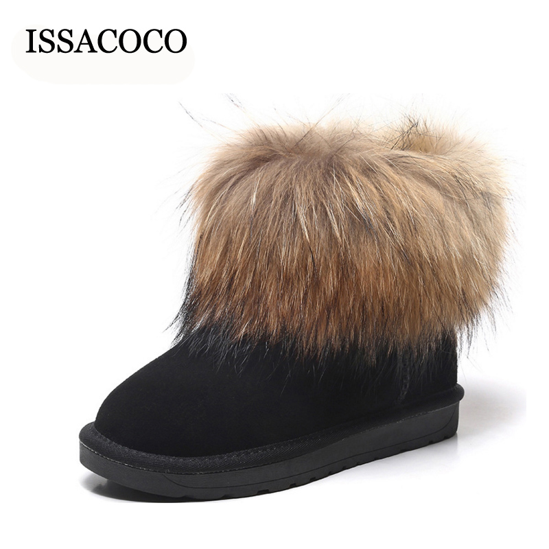 Women's Winter Fox Hair Non-slip Warm Snow Boots Women's Solid Round Toe Slip-on Plush Flock Midcalf Snow Boots UG Boots 2017 new  warm solid anti slip snow