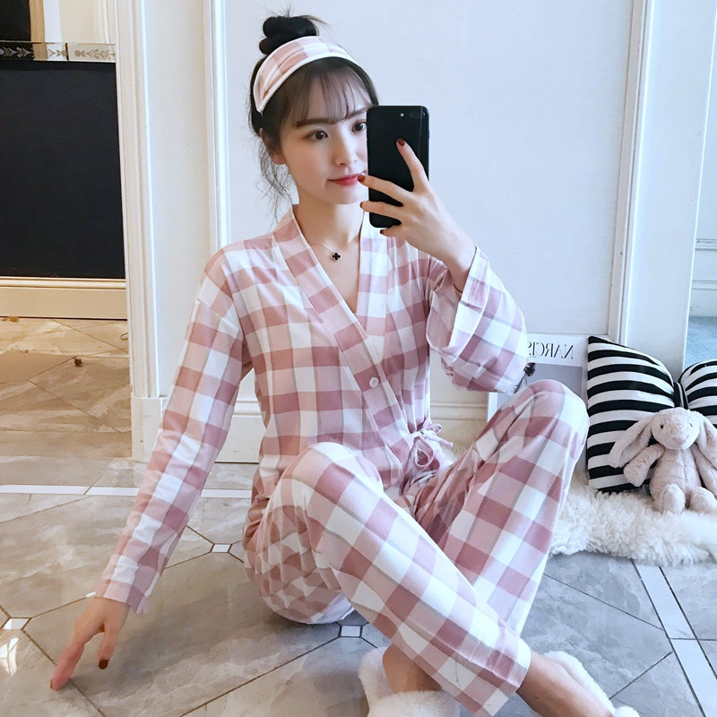 Casual Plaid Kimono   Pajamas     Sets   for Women Spring Autumn Long Sleeve Pyjama Sleepwear Femme Homewear Pijama Mujer Lounge Clothes