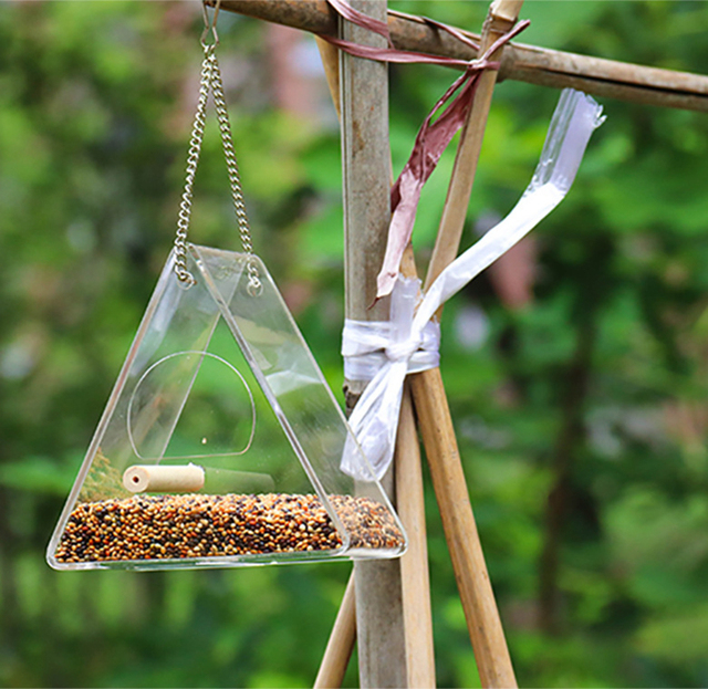 Bird Feeder Plastic Hanging Bird Food Container Transparent Outdoor Parrot Feeder Waterproof Bird Feeder Pet Supplies 3