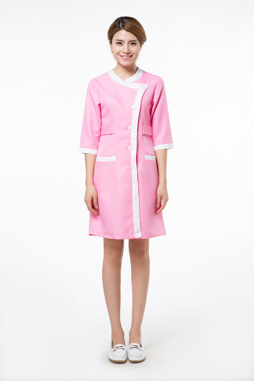 Pink lab coats for women promotion shop for promotional for Spa uniform indonesia
