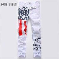 DANT BULUN 2018 New Fashion Mens American USA Flag Printed Jeans Straight Slim Fit Plus Size