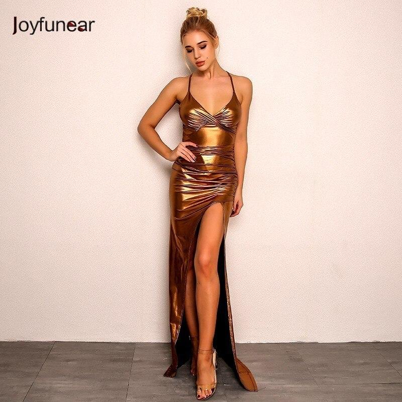 Joyfunear Gold Maxi Dress 4DHM706