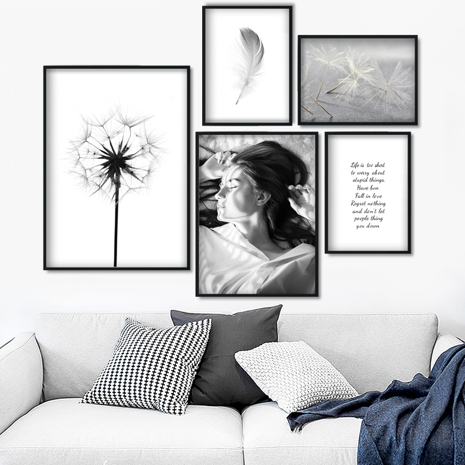Girl Dandelion Feather Quotes Landscape Wall Art Canvas Painting Nordic Posters And Prints Wall Pictures For Living Room Decor