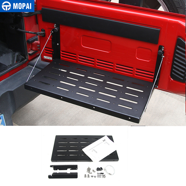MOPAI Metal Car Interior Trunk Rear Door Rack Cargo Luggage Carrier Shelf Storage Rack for Jeep Wrangler JK 2007 Up Car Styling