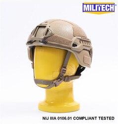 MILITECH Wüste Tan DE MICH NIJ level IIIA 3A Taktische Kugelsichere Aramid Helm ACH ARC OCC Zifferblatt Liner Aramid Ballistischen helm
