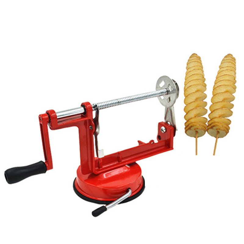 Manual Red Machine Vegetable Spiraliz Stainless Steel Twisted Potato Apple Slicer Spiral French Fry Cutter Cooking Tools stainless steel manual twisted potato slicer french fry vegetable cutter spiral for home restaurant use potato slicer maker