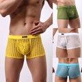 1 Pcs Homens Sexy Roupa Interior Translúcido Calcinha Ver Através Malha Buracos Net Malha Meninos Bonitos Para Gay Desgaste Culb