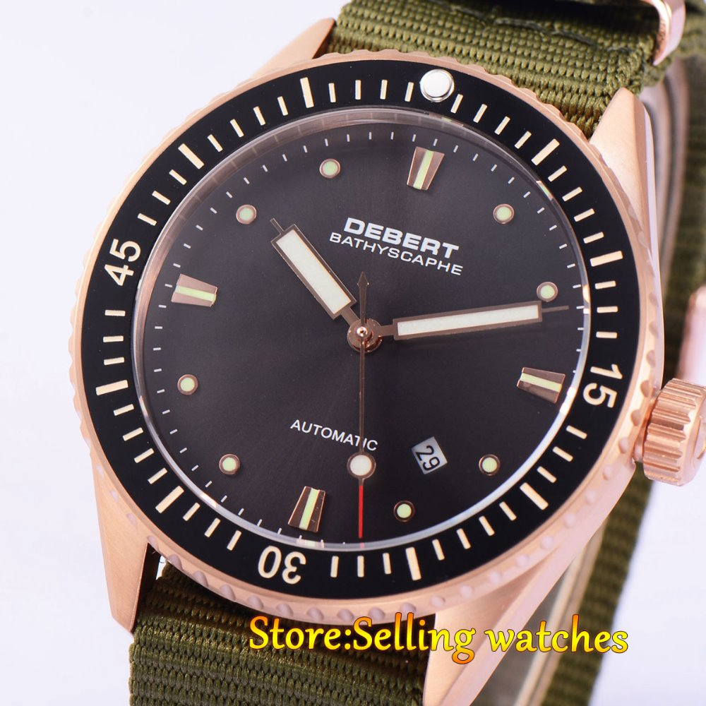 43mm DEBERT Black Ceramic Bezell Rose gold Case Sapphire Glass Miyota Automatic mens Watch цена