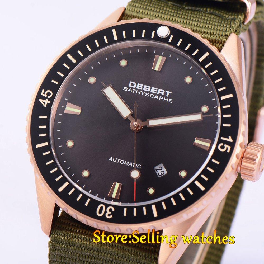 43mm DEBERT Black Ceramic Bezell Rose gold Case Sapphire Glass Miyota Automatic mens Watch цена