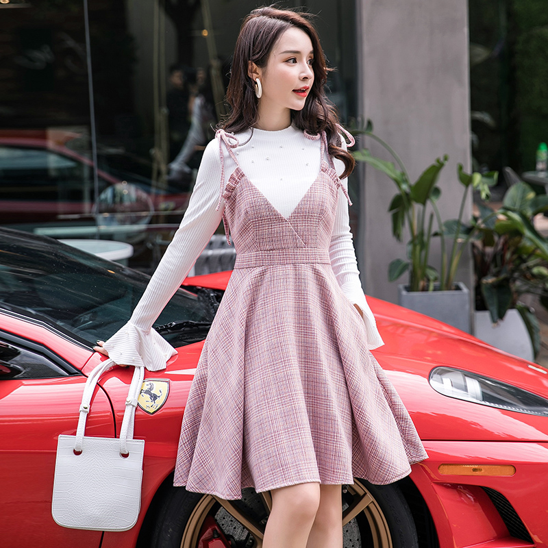 2018Women Sleeveless strap dress big bottom Dress pinched waist casual vestidos Plaid sarafan tank dress sundress