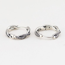 925 Sterling-Silver-Jewelry Hoop Earrings for Women Braided Silver Hoops with AAA Clear CZ Genuine Jewelry
