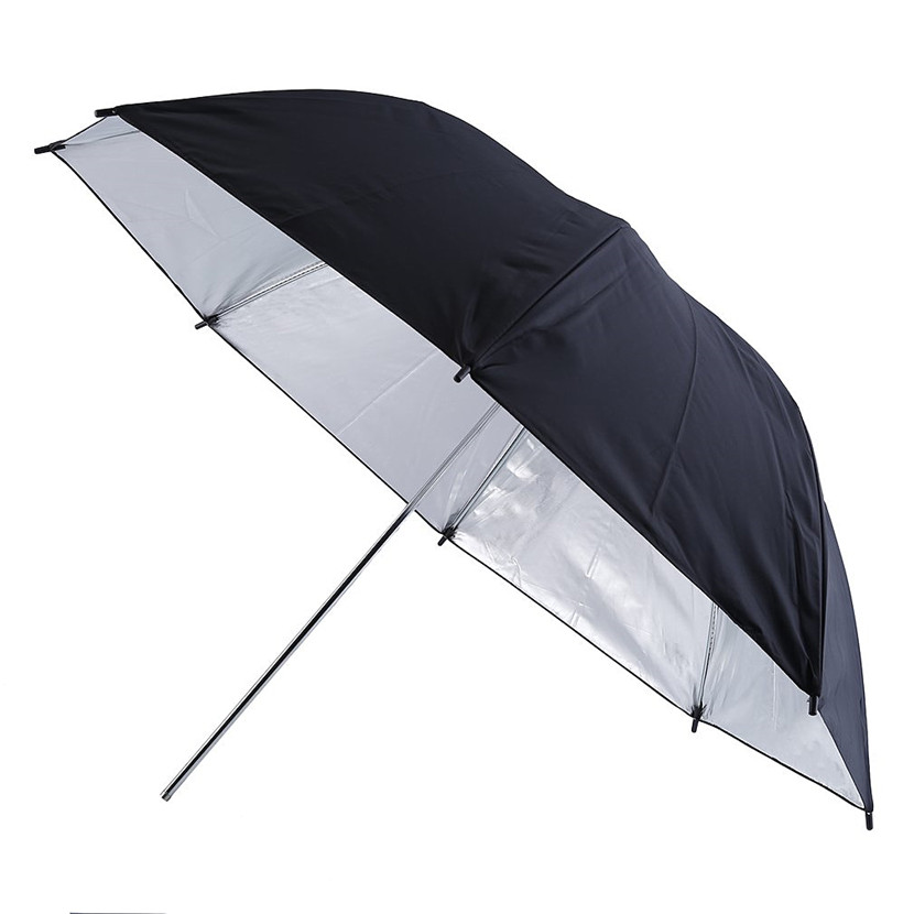 Portable 83cm 33 inch Studio Video Flash Light Grained Umbrella Reflective Reflector Black Sliver Photo Photography Umbrellas