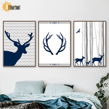 Deer Antler Bird Nordic Posters And Prints Wall Art Canvas Painting Scandinavian Pictures For Living Room Bedroom Decor