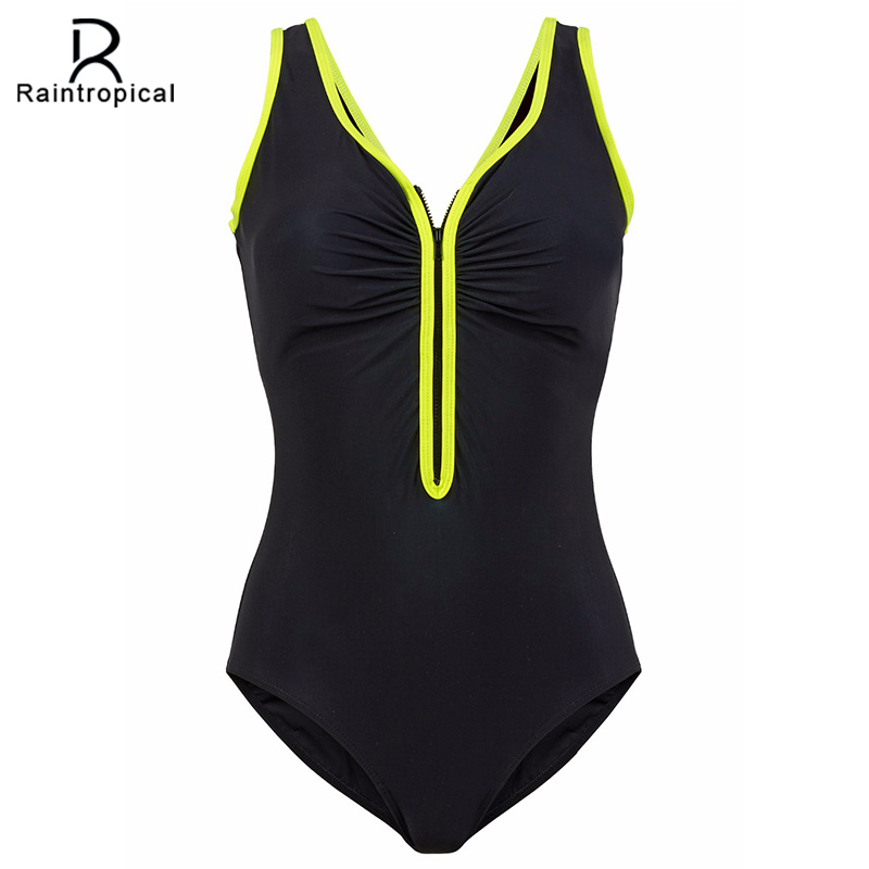Raintropical One Piece Swimsuit 2017 New Plus Size Swimwear Women Vintage Bathing Suits Summer Beach Wear Zipper Padded Swimming 2017 new one piece swimsuit women vintage bathing suits halter top plus size swimwear sexy monokini summer beach wear swimming