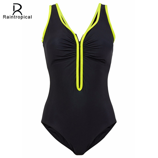 32c387b209 Raintropical One Piece Swimsuit 2019 New Plus Size Swimwear Women Vintage  Bathing Suits Summer Beach Wear Zipper Padded Swimming