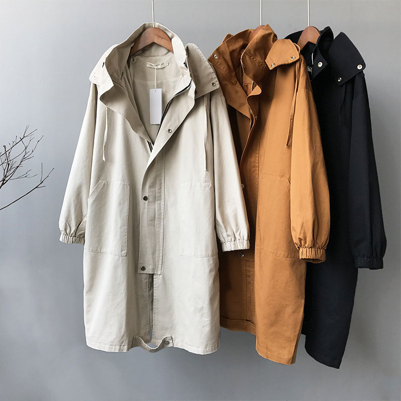 High Quality Women Hooded Long   Trench   Coat Solid Color Female Zipper   Trench   Korean Ladies Drawstring Hood Oversized Windbreaker