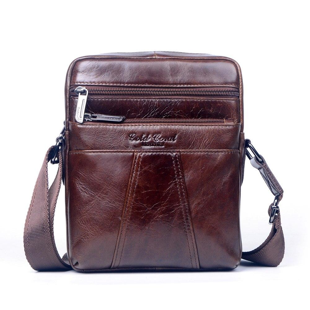 Famous brand gold coral genuine leather messenger bags for men small shoulder bags male  man handbag cowhide crossbody bags цены онлайн