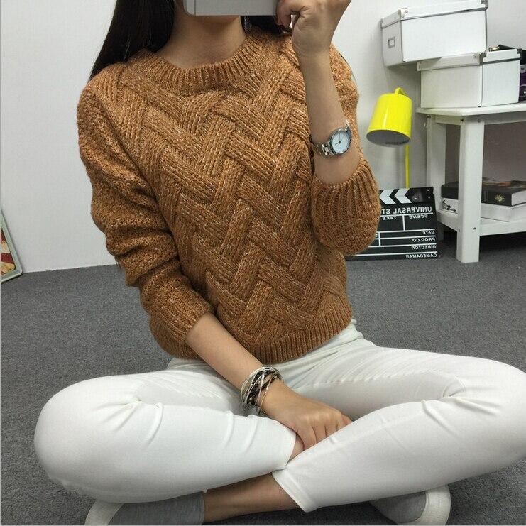 LuiseSandyHan 2018 Qadın Pullover Qadın Təsadüfi Sviter Pleid O - Qadın geyimi - Fotoqrafiya 5