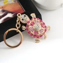 1PC Novelty Rhinestone Tortoise Keychains Keyring Fashion Animal Turtle  Metal Crystal Pink Purse Pendant Gift for Women fecc308dfe