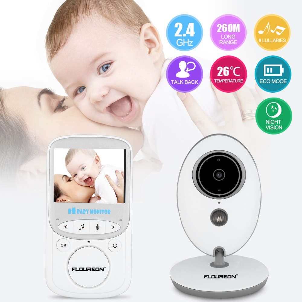 FLOUREON Digital Wireless 2.4 GHz Baby Monitor 2.4'' LCD Video Security Camera Temperature Display 2 Way Talk Night Vision digital indoor air quality carbon dioxide meter temperature rh humidity twa stel display 99 points made in taiwan co2 monitor